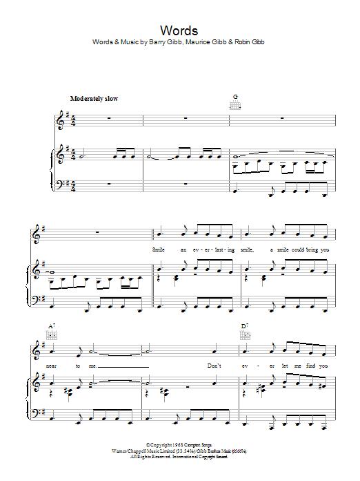 Words (Piano, Vocal & Guitar)