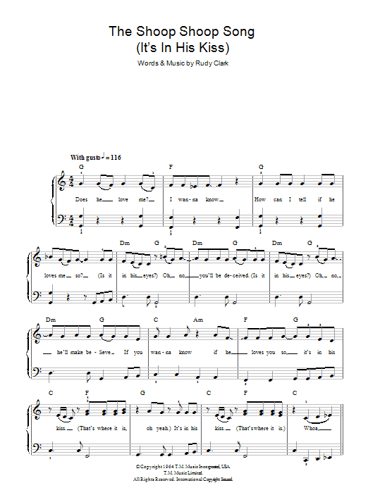 The Shoop Shoop Song (It's In His Kiss) Sheet Music