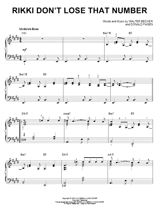 Piano piano chords number : Rikki Don't Lose That Number sheet music by Steely Dan (Piano – 67237)