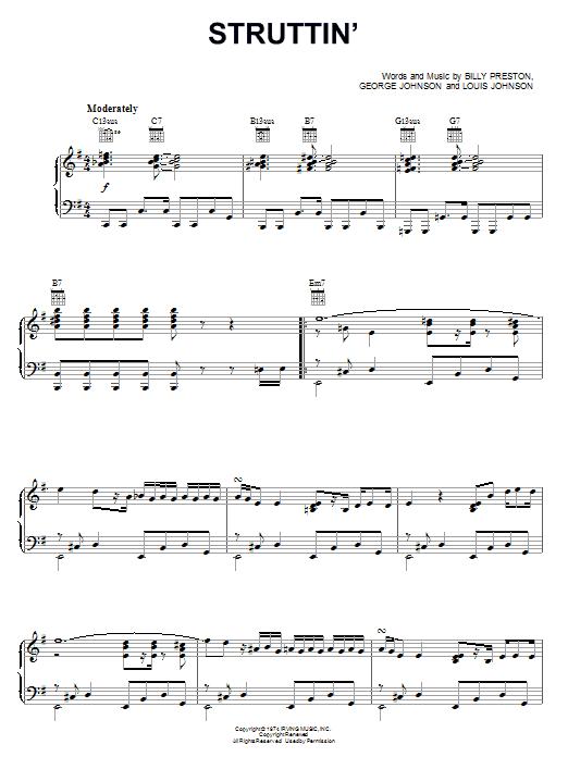 Partition piano Struttin' de Billy Preston - Piano Voix Guitare (Mélodie Main Droite)