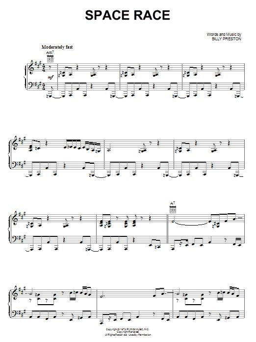 Partition piano Space Race de Billy Preston - Piano Voix Guitare (Mélodie Main Droite)