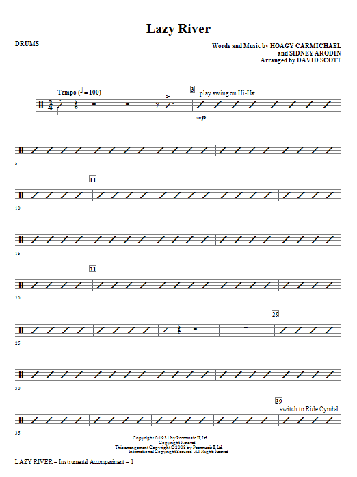 Lazy River - Drums Sheet Music