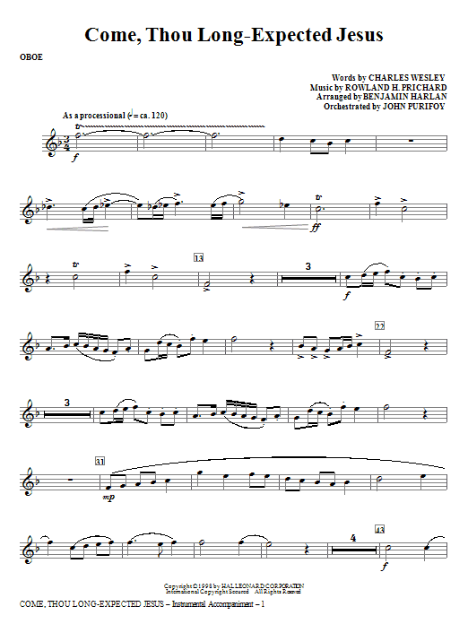 Come, Thou Long-Expected Jesus - Oboe Sheet Music