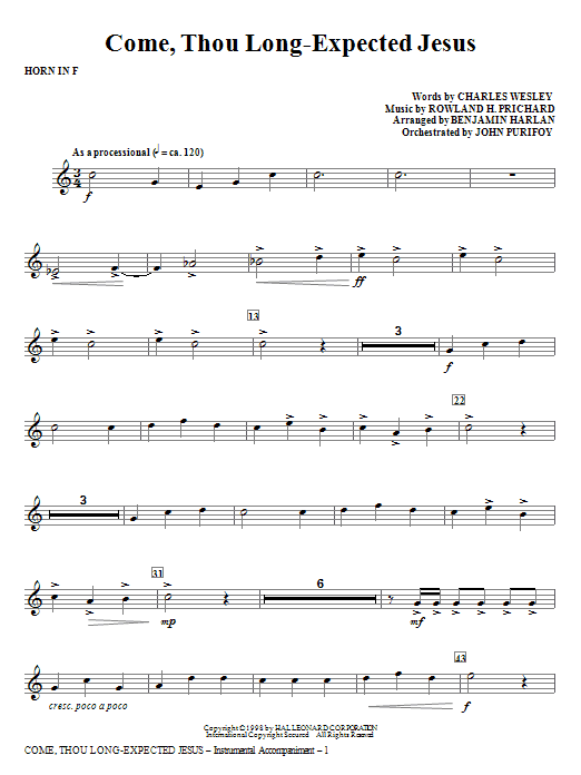 Come, Thou Long-Expected Jesus - Horn in F Sheet Music