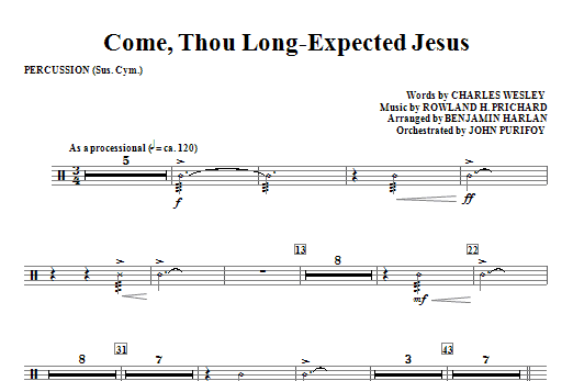 Come, Thou Long-Expected Jesus - Percussion Sheet Music