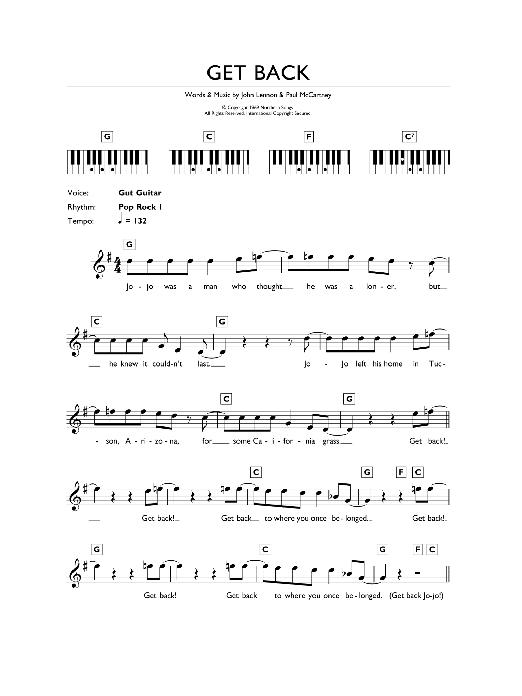 Get Back (Piano Chords/Lyrics)