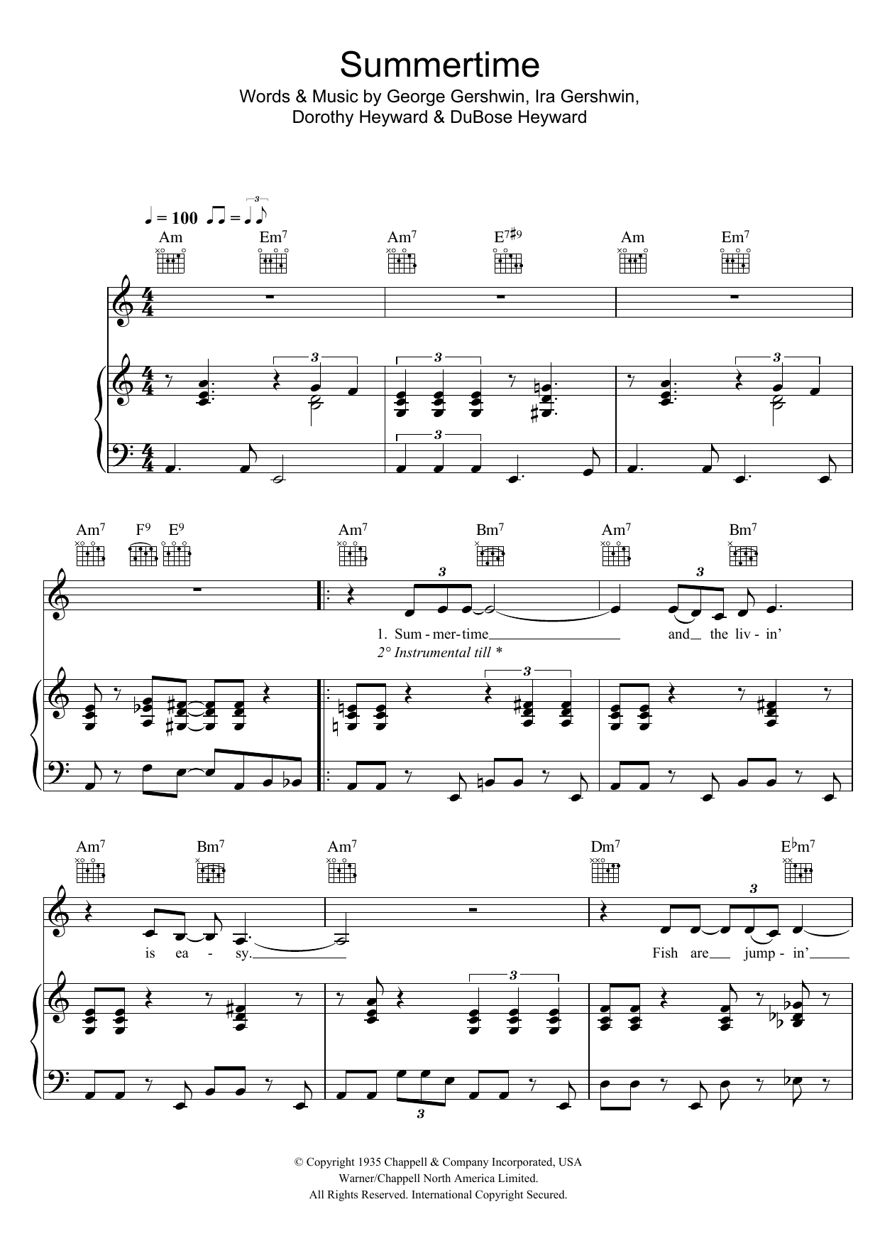 Summertime (from Porgy And Bess) (Piano, Vocal & Guitar)