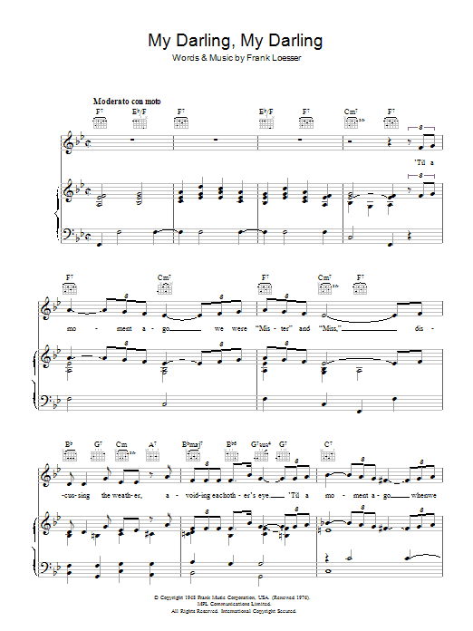 My Darling, My Darling (from Where's Charley?) (Piano, Vocal & Guitar)