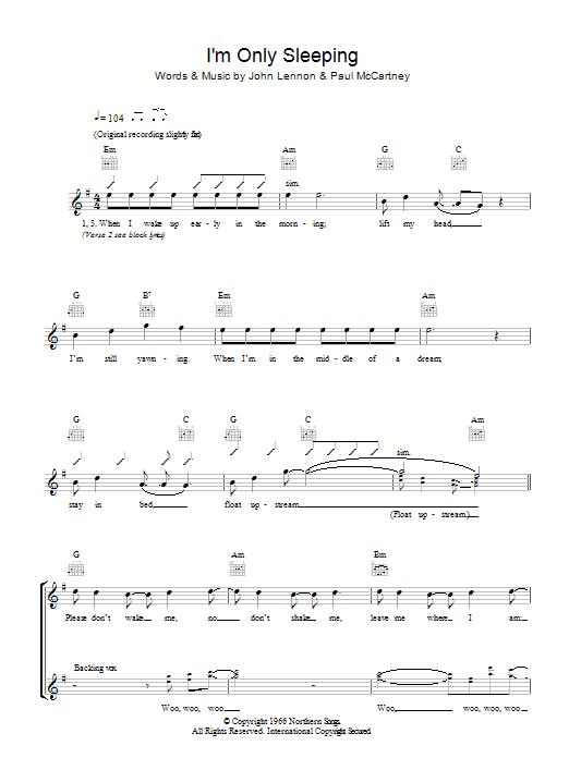 Im Only Sleeping Sheet Music The Beatles Melody Line Lyrics