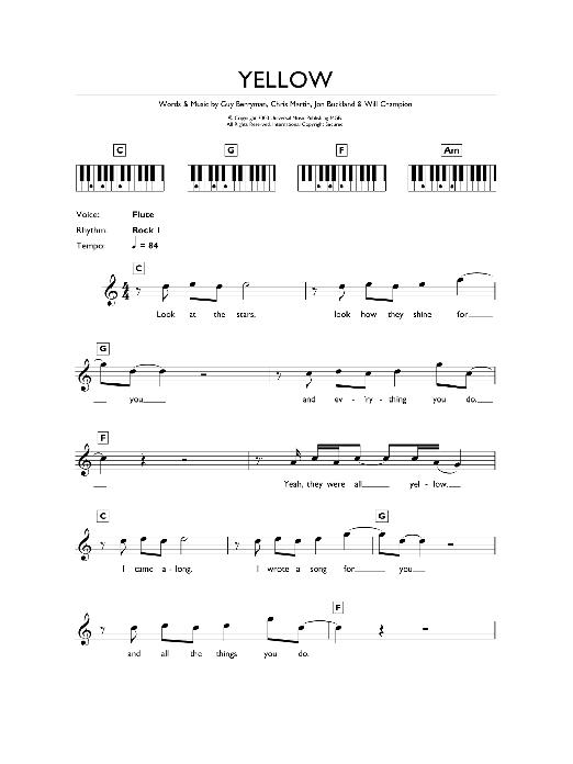 Yellow (Piano Chords/Lyrics)