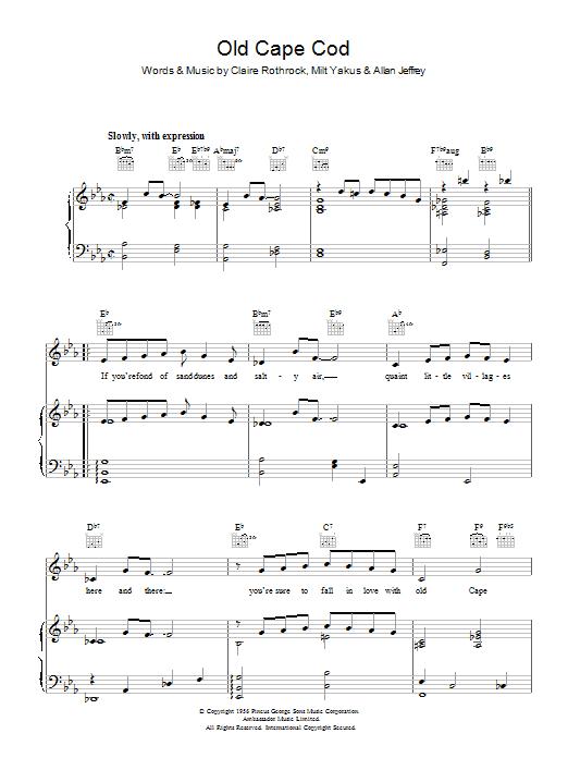 Old Cape Cod (Piano, Vocal & Guitar)