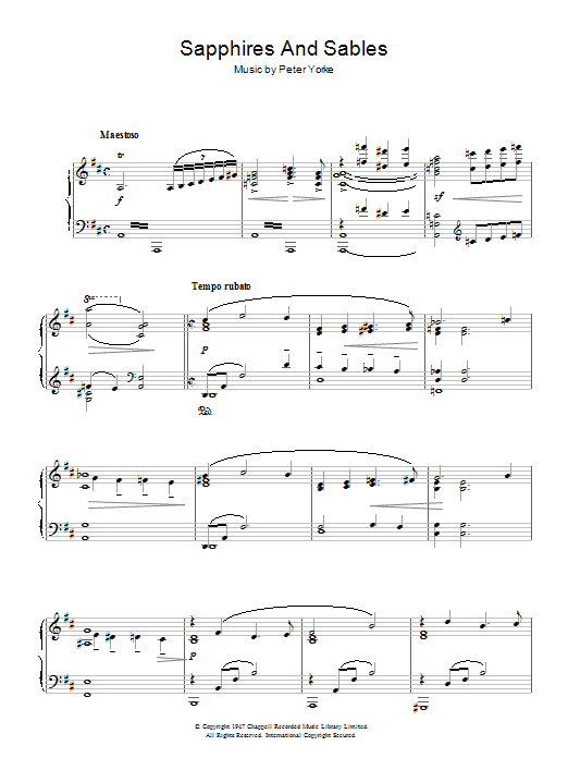 Sapphires And Sables (Piano Solo)