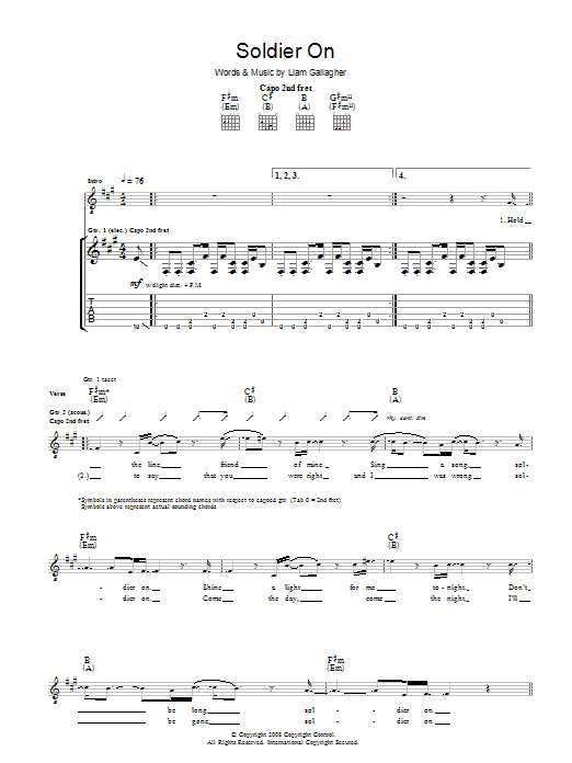 Soldier On (Guitar Tab)
