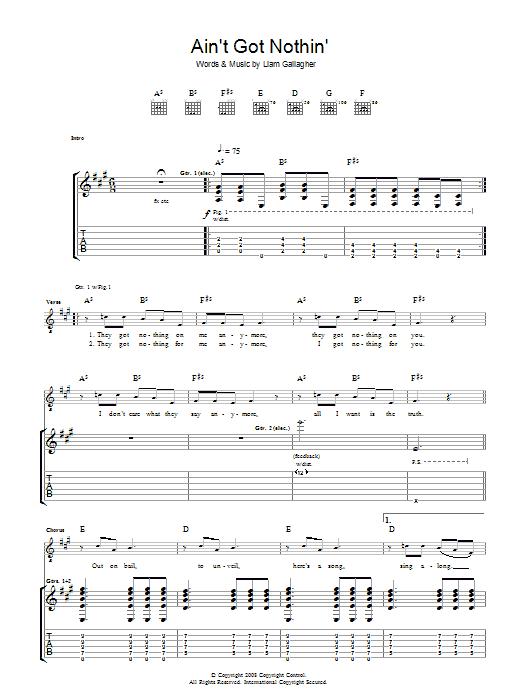 Ain't Got Nothin' (Guitar Tab)