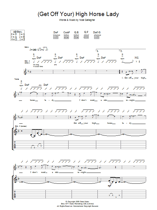 (Get Off Your) High Horse Lady Sheet Music