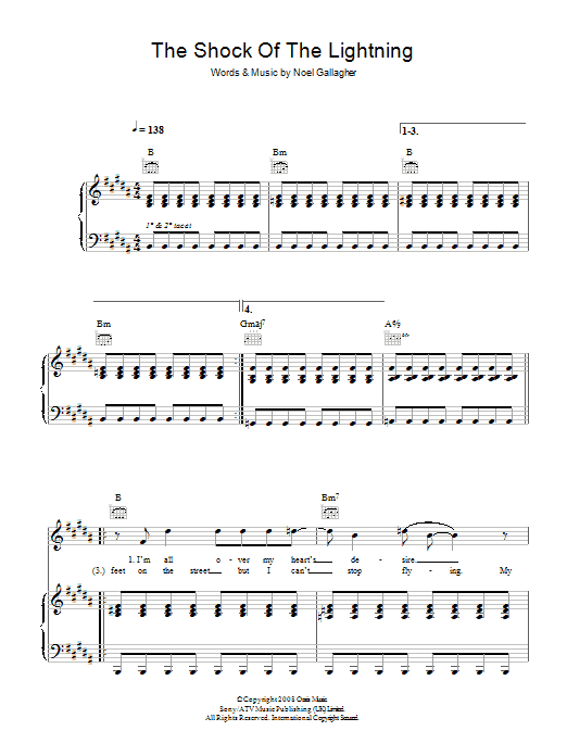 The Shock Of The Lightning (Piano, Vocal & Guitar)