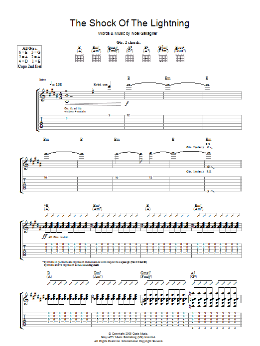 The Shock Of The Lightning (Guitar Tab)