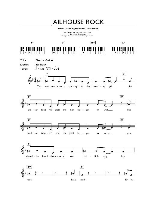 Jailhouse Rock (Piano Chords/Lyrics)