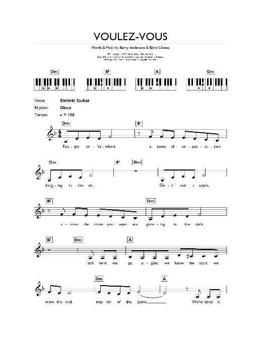 Voulez Vous (Piano Chords/Lyrics)