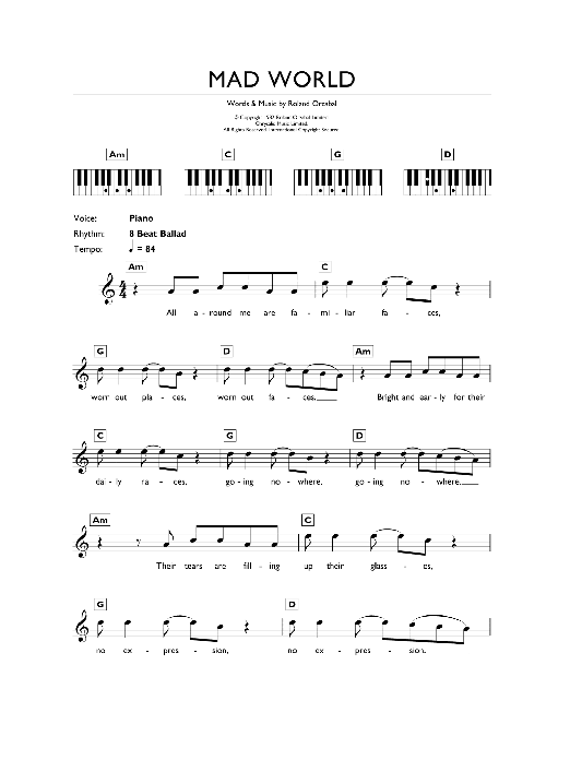 Mad World From Donnie Darko Sheet Music Gary Jules Michael