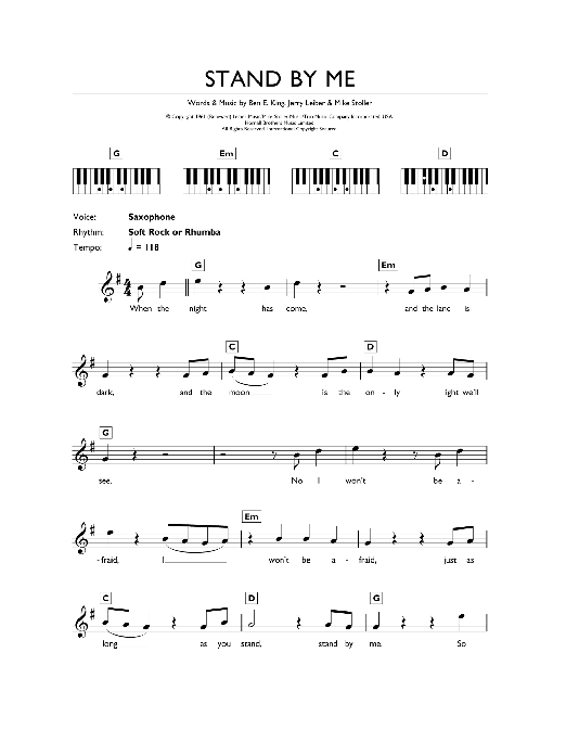 Stand By Me (Piano Chords/Lyrics)