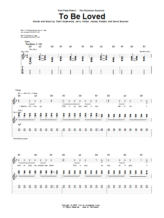 Tablature guitare To Be Loved de Papa Roach - Tablature Guitare