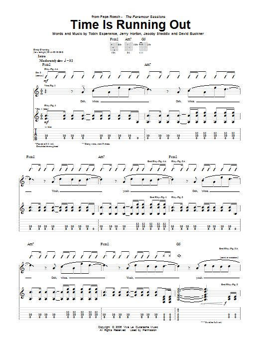Tablature guitare Time Is Running Out de Papa Roach - Tablature Guitare