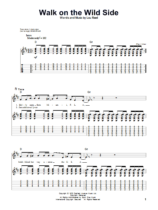 Tablature guitare Walk On The Wild Side de Lou Reed - Playback Guitare