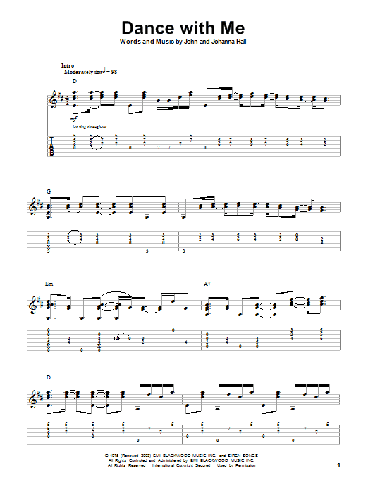 Tablature guitare Dance With Me de Orleans - Autre