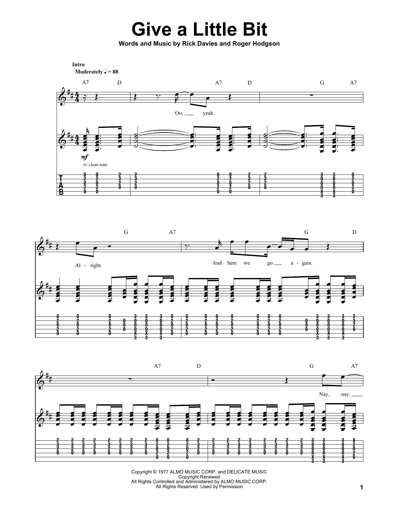Tablature guitare Give A Little Bit de Supertramp - Autre
