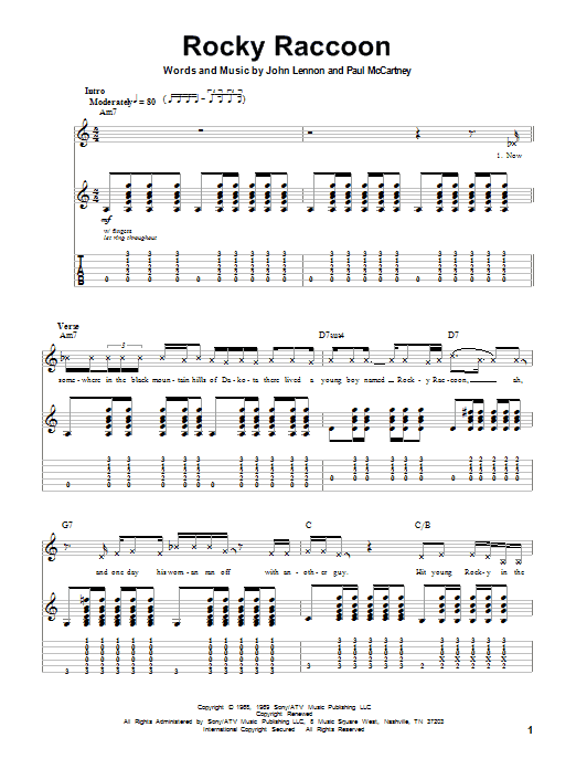 Tablature guitare Rocky Raccoon de The Beatles - Playback Guitare