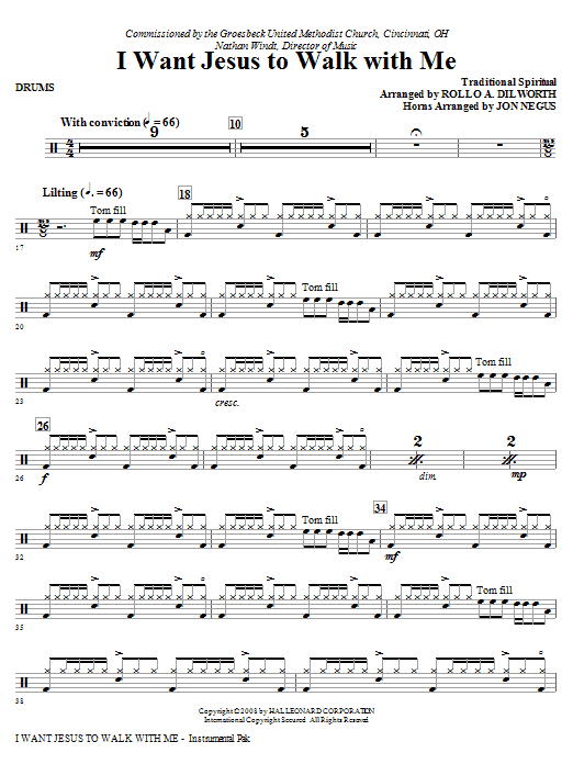I Want Jesus To Walk With Me - Drums Sheet Music