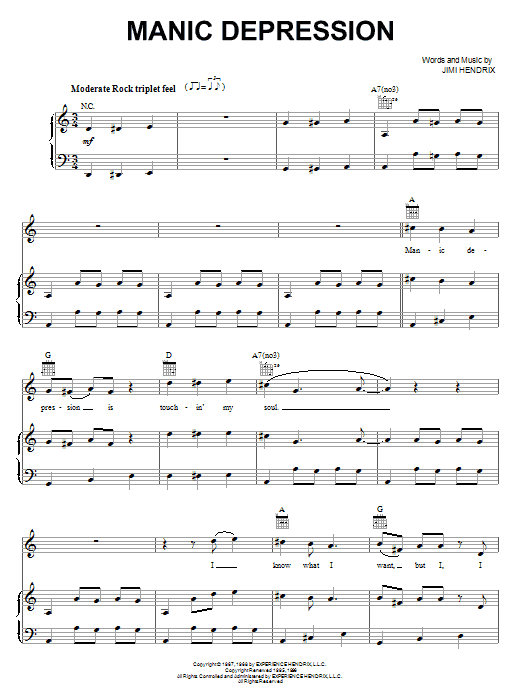 Manic Depression (Piano, Vocal & Guitar (Right-Hand Melody))