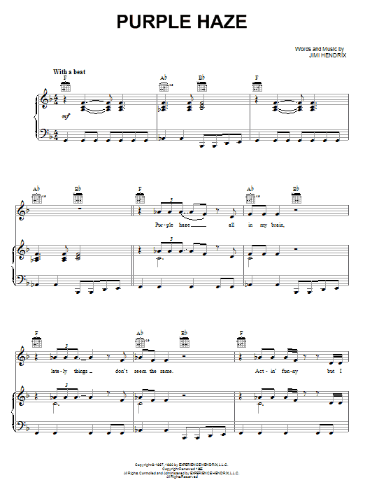 Purple Haze (Piano, Vocal & Guitar (Right-Hand Melody))