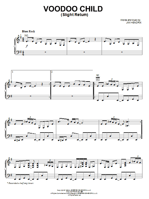 Voodoo Child (Slight Return) (Piano, Vocal & Guitar (Right-Hand Melody))