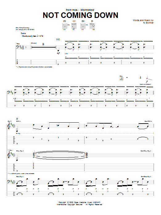 Tablature guitare Not Coming Down de moe. - Tablature Guitare