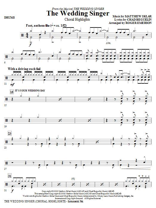The Wedding Singer (Choral Highlights) - Drums (Choir Instrumental Pak)