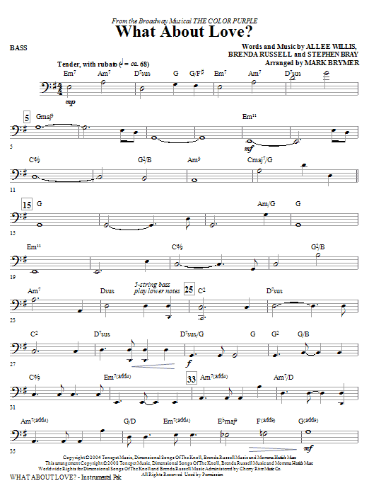 What About Love? (from The Color Purple) - Bass (Choir Instrumental Pak)