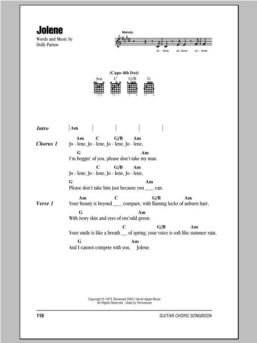 Jolene (Guitar Chords/Lyrics)