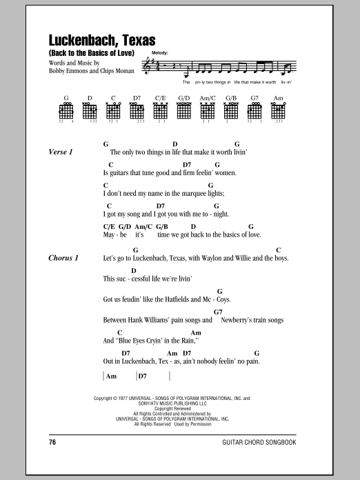 Luckenbach, Texas (Back To The Basics Of Love) (Guitar Chords/Lyrics)