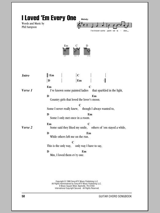 I Loved \'Em Every One sheet music by T.G. Sheppard (Lyrics & Chords ...