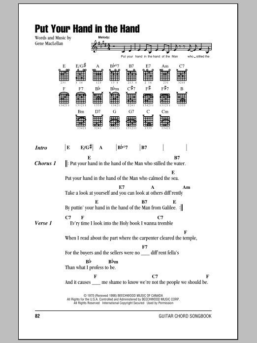 Put Your Hand In The Hand Sheet Music