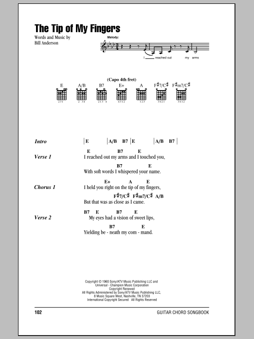 The Tip Of My Fingers Sheet Music