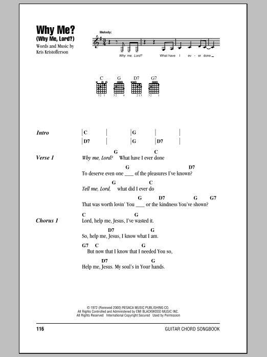 Why Me? (Why Me, Lord?) (Guitar Chords/Lyrics)