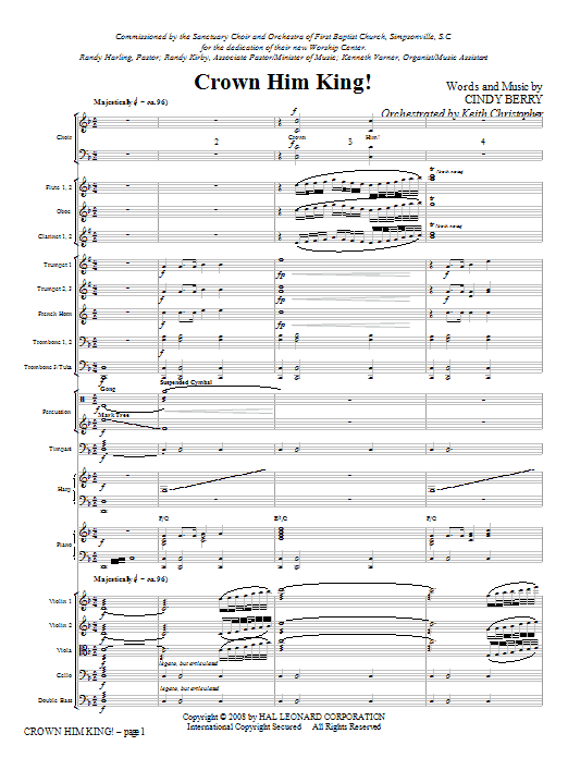 Crown Him King! (COMPLETE) sheet music for orchestra/band (Orchestra) by Cindy Berry. Score Image Preview.