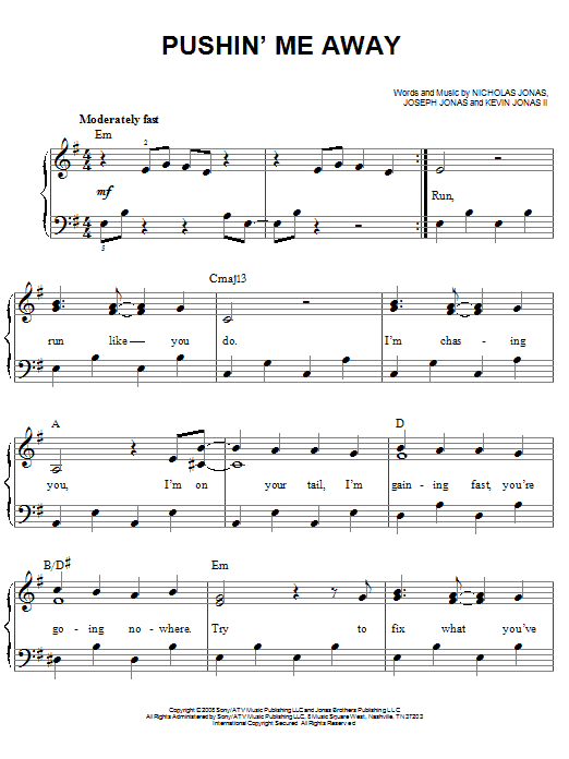 Pushin' Me Away Sheet Music