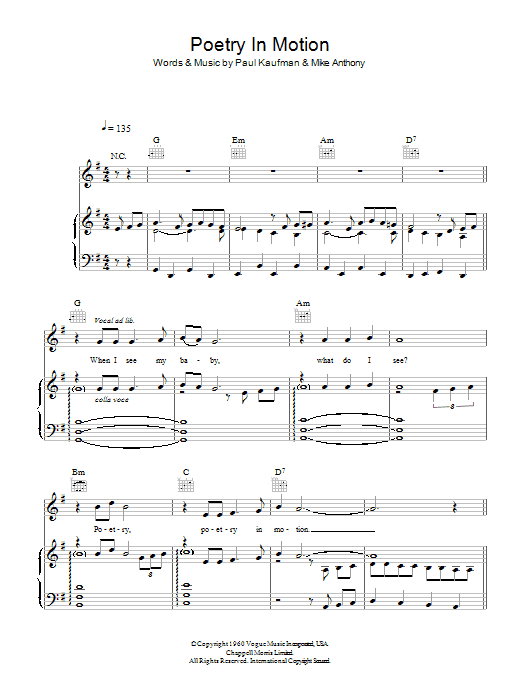 Poetry In Motion (Piano, Vocal & Guitar)