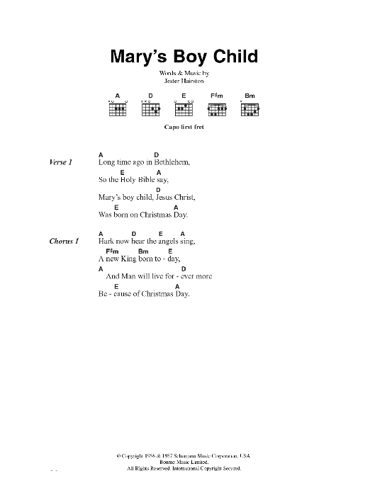 Mary's Boy Child Sheet Music
