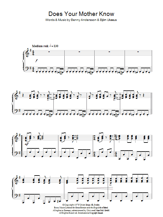 Does Your Mother Know (Piano Solo)