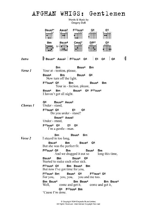 Gentlemen By The Afghan Whigs Guitar Chordslyrics Guitar Instructor